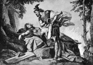 """Siegfried awakens Brunhilde. - """"Siegfried awakens Brunhild"""" by Original art by Otto Donner von Richter (1828-1911) Engraving by R. Bong (fl. 1880-1908) - Brewer, Ebenezer Cobham. 1892. Character sketches of romance, fiction and the drama. A revised American edition of the Readers' handbook. Volume IV. Facing page 48. Digitized version from University of Wisconsin Digital Collections[1]. Licensed under Public domain via Wikimedia Commons - http://commons.wikimedia.org/wiki/File:Siegfried_awakens_Brunhild.jpg#mediaviewer/File:Siegfried_awakens_Brunhild.jpg"""