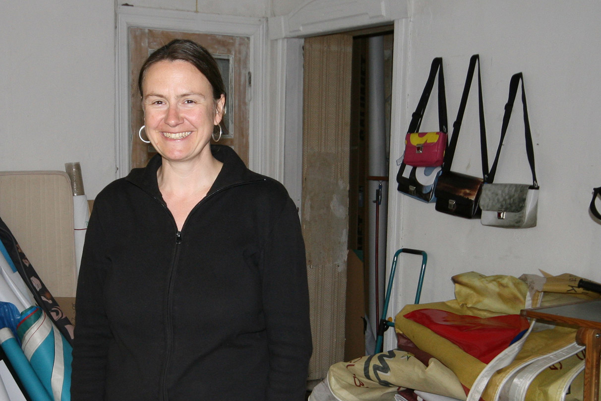 Britta Eppinger makes bags by recycling banners which come mainly from Barcelona. - <em>by SL Wong</em>