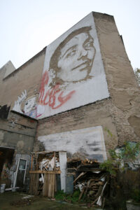 Vhils honours street artists too, like this one half of Various & Gould. - <em>by SL Wong</em>