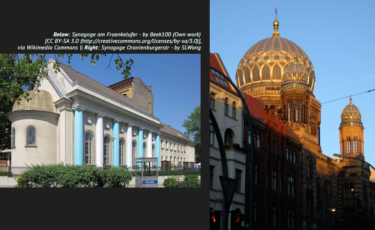 There are 12 synagogues  of different movements that are part of the Jewish Community of Berlin. - <em>by Beek100 (Own work) via Wikimedia Commons and SL Wong</em>