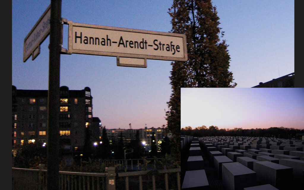 Hannah Arendt is honoured on a Berlin street-name bordering the Holocaust Memorial (inset). <em>by SL Wong</em>