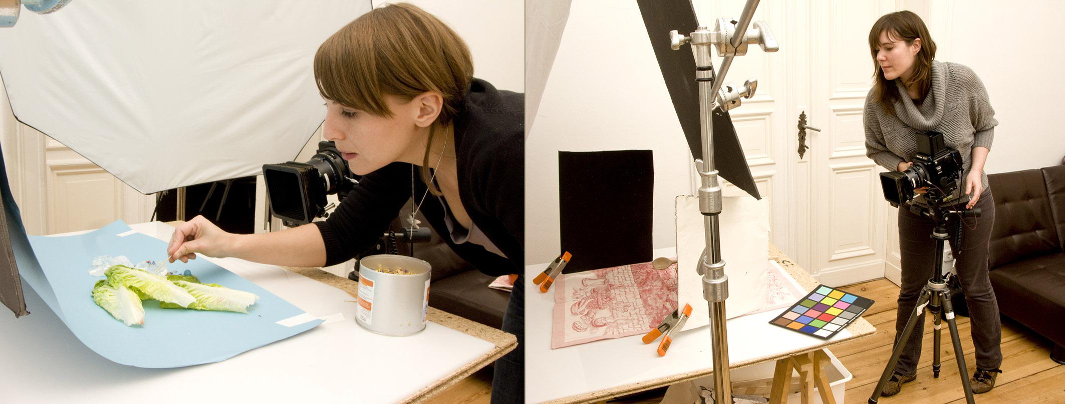Photographers Meike Bergmann (left) and Judith Keller preparing shots for 'Das Klima Kochbuch' - respectively by Meike Bergmann and Judith Keller.