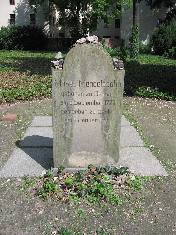 Today, a symbolic gravestone commemorating Moses Mendelssohn stands alone in the cemetery. - <em>by SK Mandal</em>
