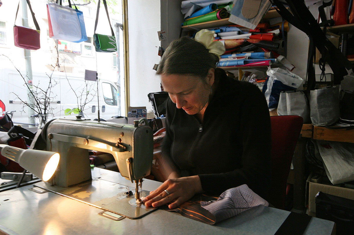 Each of Britta's hand-made bags is unique. - <em>by SL Wong</em>