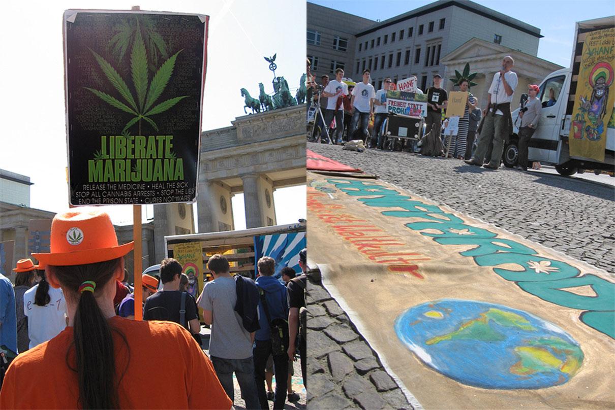 Pro-marijuana legalisation lobby the <em>Deutscher Hanf Verband</em> (German Hemp Association) demonstrate on a regular basis; this 2011 protest was at Berlin's Brandenburg Gate. - <em>by SL Wong</em>