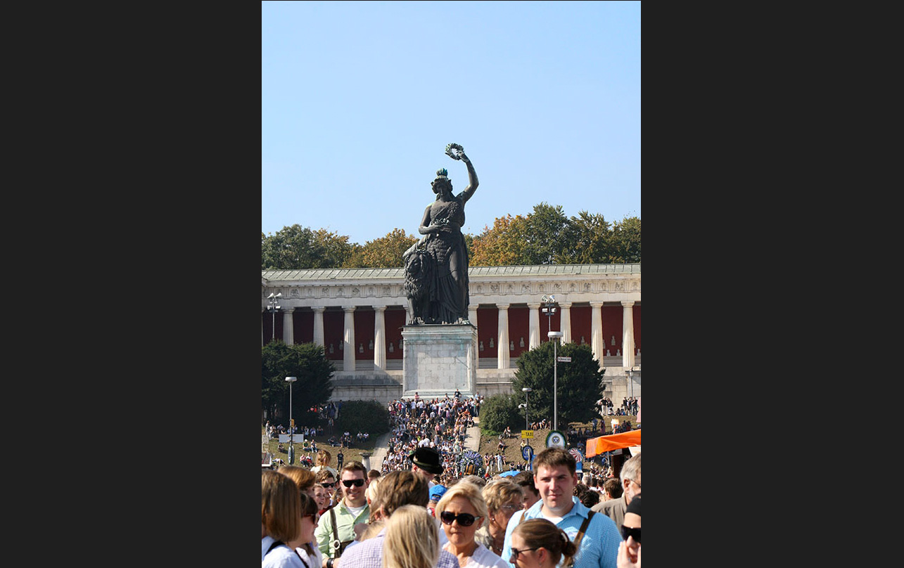 The statue of Bavaria watches over the Oktoberfest. -<em>by SL Wong</em>