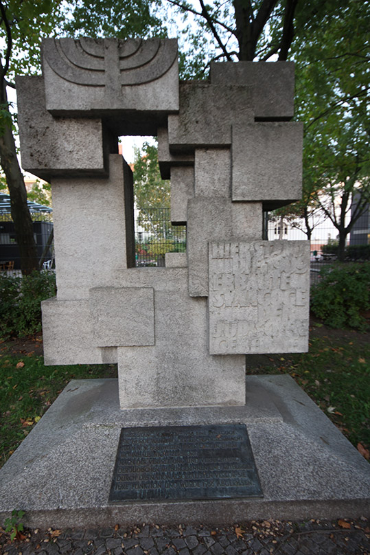 A German Democratic Republic-era memorial to a destroyed synagogue was one of two memorials in the locality before the authorities' <em>Vergangenheitsaufarbeitung</em> began in 1983 (Wiedmer, 1995). - <em>by SL Wong</em>