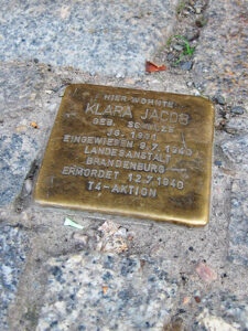 T4 victims such as Klara Jacob are also commemorated in front of their homes in the form of <em>Stolpersteine.</em> Jacob lived in Neukölln. - <em>by SK Mandal</em>