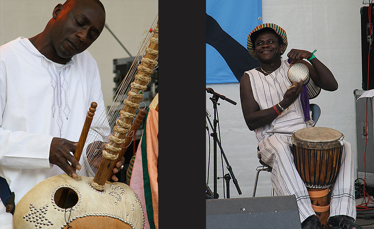 The griot was accompanied by beats and sounds from West African instruments. - <em>by S.L. Wong</em>
