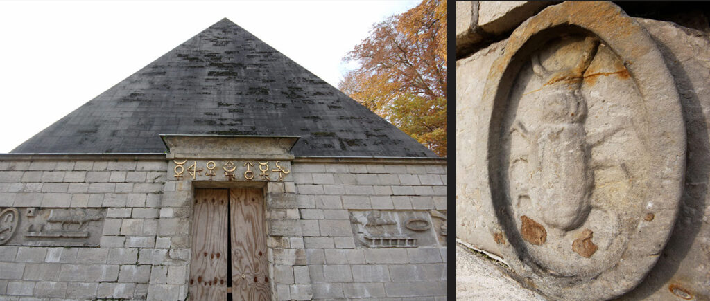 Freemasonry in the 18th century was associated with Egyptian initiatory practices. This pyramid was constructed to serve as a cold-storage and sported hieroglyphs, the only part of the structure that was reused when it was rebuilt. - <em>by SL Wong</em>