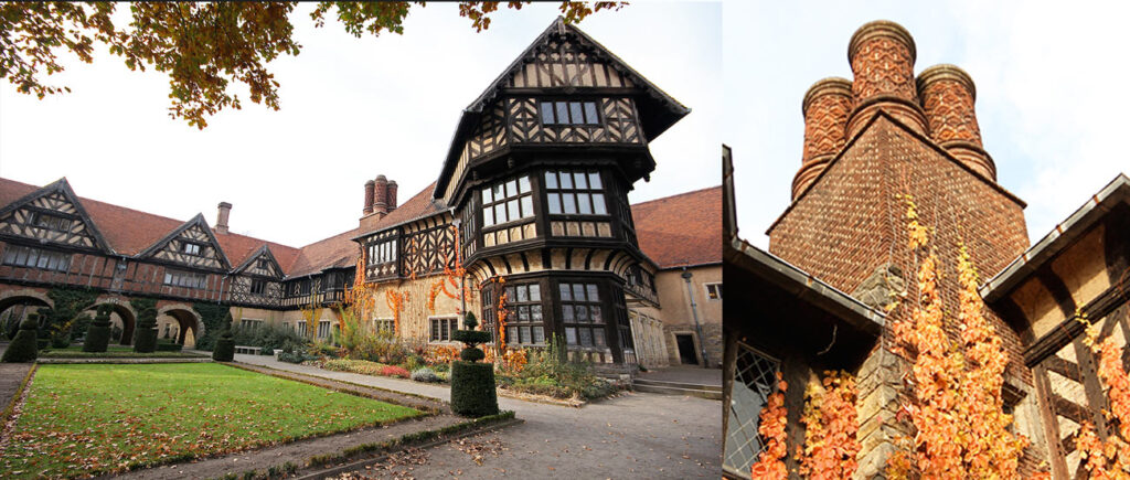 Inspired by the parental hunting lodge of the princess after whom it is named, the <em>Schloss Cecilienhof</em> is defined by half-timbered oak and bricks. Each of its 55 Tudor-style chimneys is unique. This was the home of the last of the Prussian monarchs. - <em>by SL Wong</em>