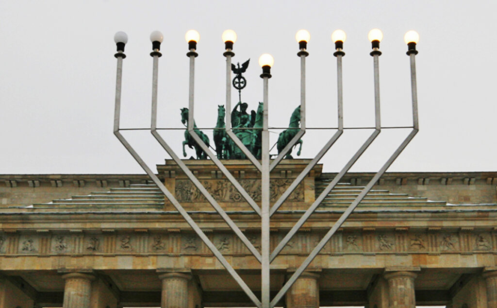 This menorah is the largest public menorah in Europe. - <em>by SL Wong</em>