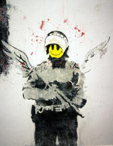 This is a recurring motif in Banksy's oeuvre. - <em>by SL Wong</em>