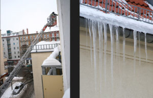 Firemen clearing the lethal icicles hanging from rooftops. - <em> by SL Wong</em>