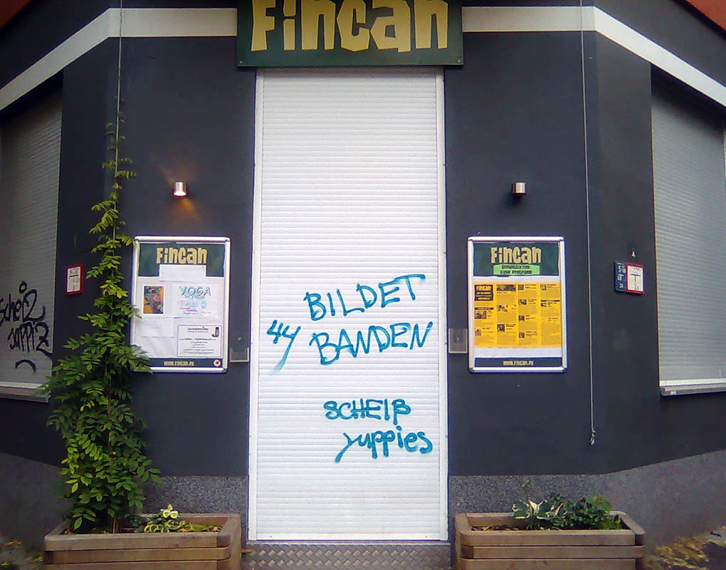 Messages against gentrification started proliferating throughout Neukölln in 2011. - <em>by SL Wong</em>