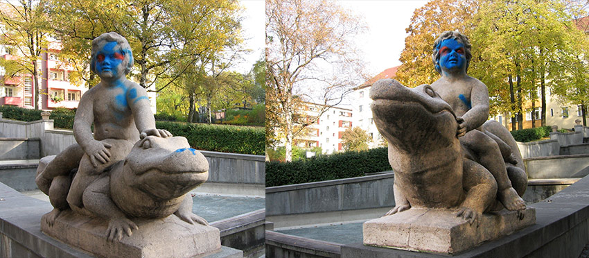 This pair of statues flanked broad steps leading to the fountain in Körnerpark. - <em>by SL Wong</em>