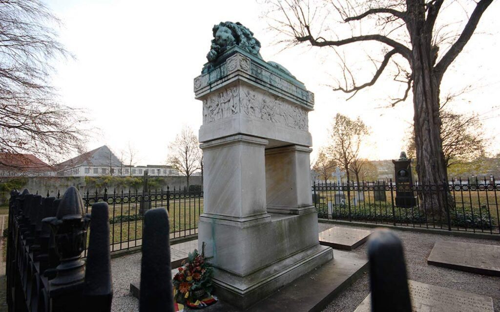 Rauch's slumbering lion on the Scharnhorst tomb was carved out of a captured canon. - <em>by SL Wong</em>